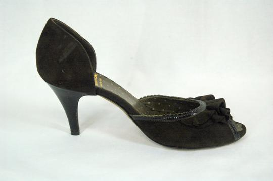 Moschino D'orsay Peep Toe Suede Brown Pumps Image 3