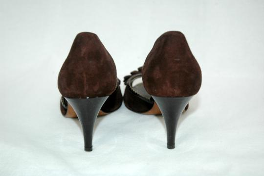 Moschino D'orsay Peep Toe Suede Brown Pumps Image 4