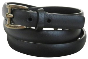 Gucci GUCCI Logos Mini Buckle Belt Leather Black Leather Black Italy