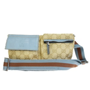 Gucci GUCCI GG Pattern Sherry Bum Bag Belt Canvas Leather Navy Blue