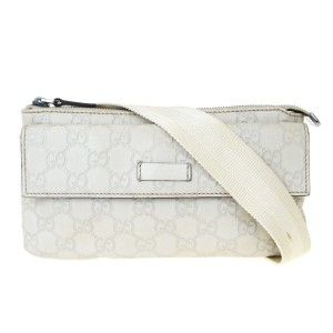 Gucci GUCCI GG Sima Bum Bag Leather Off White Silver Plated Italy