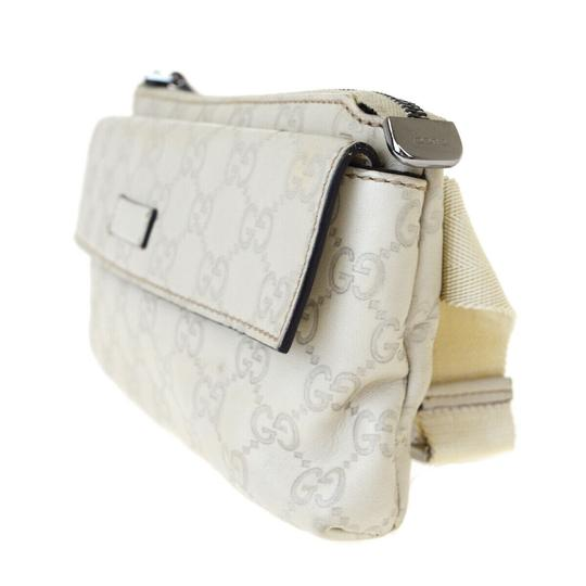 Gucci GUCCI GG Sima Bum Bag Leather Off White Silver Plated Italy Image 1