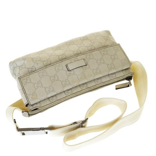 Gucci GUCCI GG Sima Bum Bag Leather Off White Silver Plated Italy Image 4