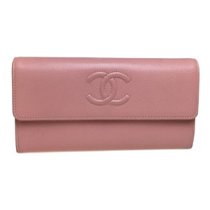 Chanel Auth Chanel A50070 Leather Long Wallet (bi-fold) pink
