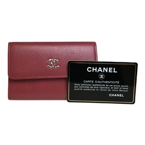 Chanel Auth Chanel A81645 Caviar Leather Card Case Pink