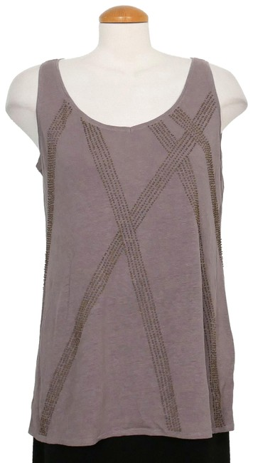 Item - Smoke Gray Jersey Linen Beaded V-neck M Tank Top/Cami Size 10 (M)