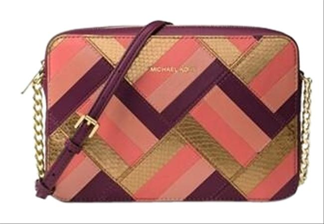 Item - Marquetry Patchwork Plum Leather Cross Body Bag