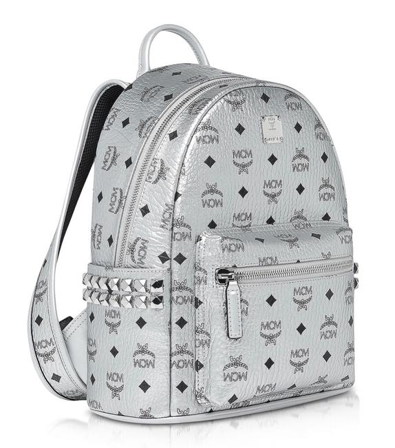 Item - Stark Studded Berlin Silver Leather/ Coated Canvas Backpack