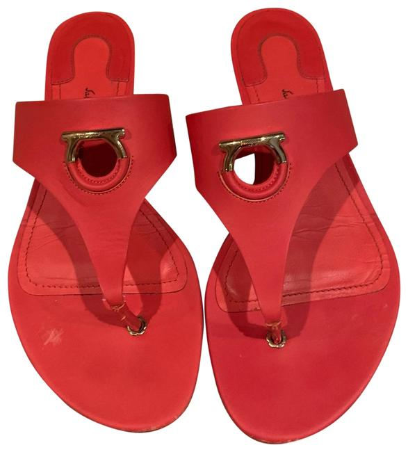Item - Red Enfola Leather Thong Sandals Size US 6.5 Wide (C, D)