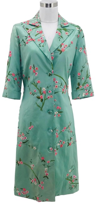Item - Green Pink Small Floral Coat Size 6 (S)