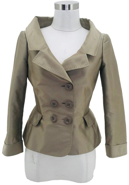 Item - Brown Designer Jacket Small Striped Double Breasted Coat Size 4 (S)