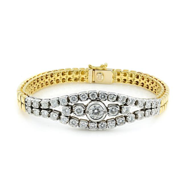 Item - 18k Yellow/White Gold 2.75cts Diamond Smooth 32gr Bracelet