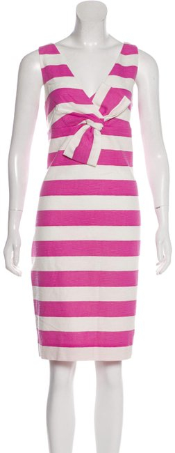 Item - Pink White Striped Bow Sleeveless Knee Length Mid-length Work/Office Dress Size 4 (S)