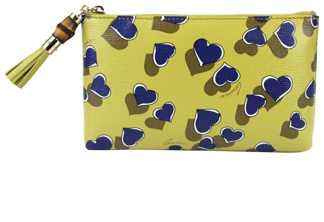 Item - Heartbeat Pouch W/Bamboo Detail 338816 Yellow 7309 Leather Clutch