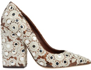 Tory Burch Embroidered Pointed Toe Snakeskin Leather Brown Pumps