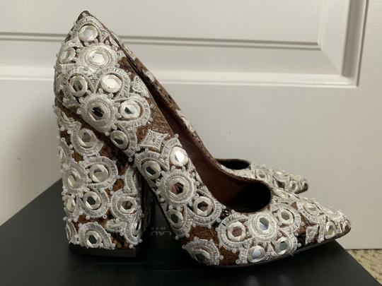 Tory Burch Embroidered Pointed Toe Snakeskin Leather Brown Pumps Image 1