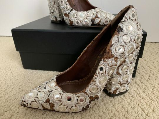 Tory Burch Embroidered Pointed Toe Snakeskin Leather Brown Pumps Image 10
