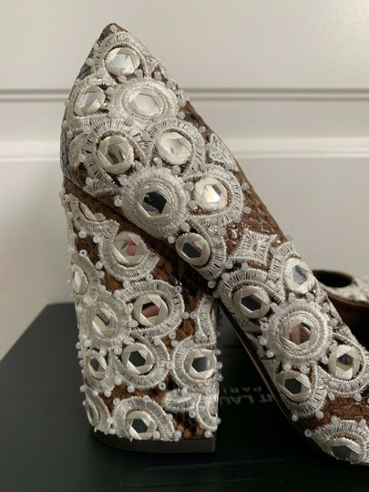 Tory Burch Embroidered Pointed Toe Snakeskin Leather Brown Pumps Image 11