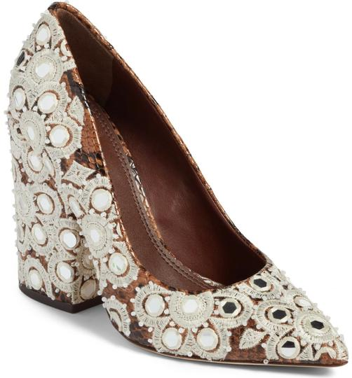 Tory Burch Embroidered Pointed Toe Snakeskin Leather Brown Pumps Image 2