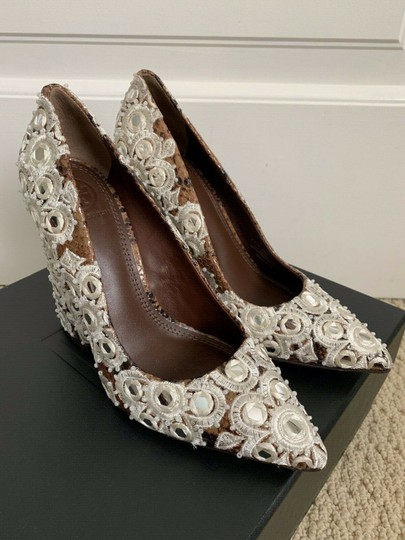 Tory Burch Embroidered Pointed Toe Snakeskin Leather Brown Pumps Image 3
