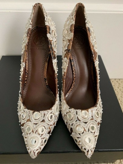 Tory Burch Embroidered Pointed Toe Snakeskin Leather Brown Pumps Image 4
