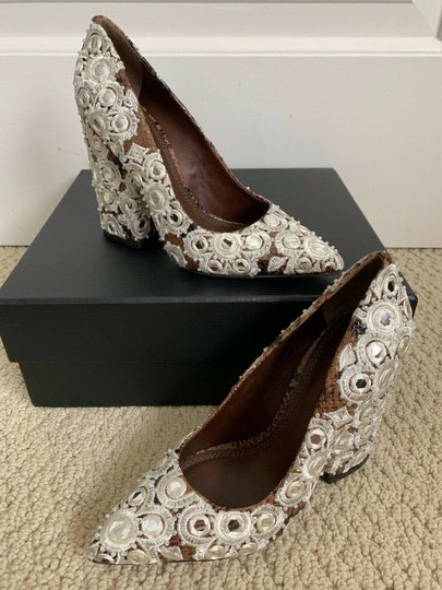 Tory Burch Embroidered Pointed Toe Snakeskin Leather Brown Pumps Image 5
