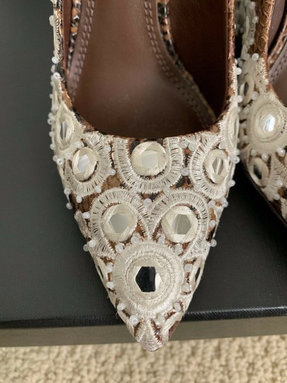 Tory Burch Embroidered Pointed Toe Snakeskin Leather Brown Pumps Image 6