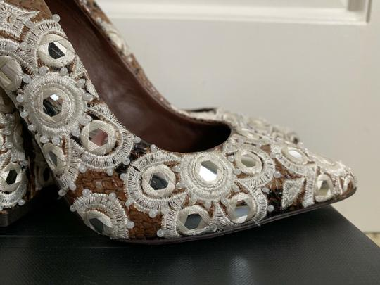 Tory Burch Embroidered Pointed Toe Snakeskin Leather Brown Pumps Image 7