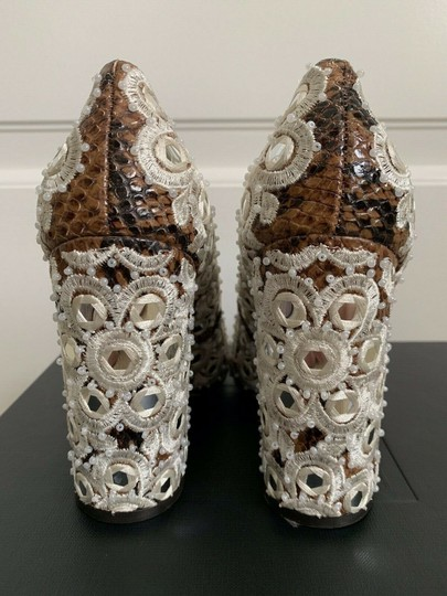 Tory Burch Embroidered Pointed Toe Snakeskin Leather Brown Pumps Image 9