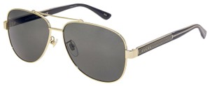 Gucci WEB 0528 Gold Crystal Black Aviator Metal Sunglasses GG0528S Unisex