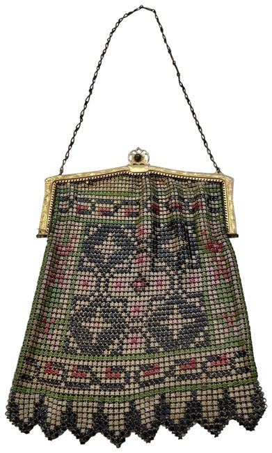 Item - Old Gold Mesh Painted Enamel Handle Purse Pink Chain Baguette