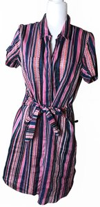 ecru short dress Pink Multi Preppy Linen on Tradesy