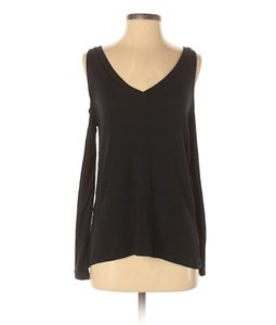 LNA Knit Modal Open Shoulder Active Cold Shoulder Top Black