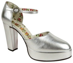 Gucci Metallic Leather Silver Platforms