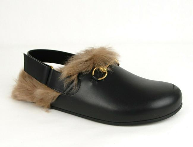 Item - Black Leather Fur Lined Slip On Sandal 9/Us 9.5 473493 1076 Shoes