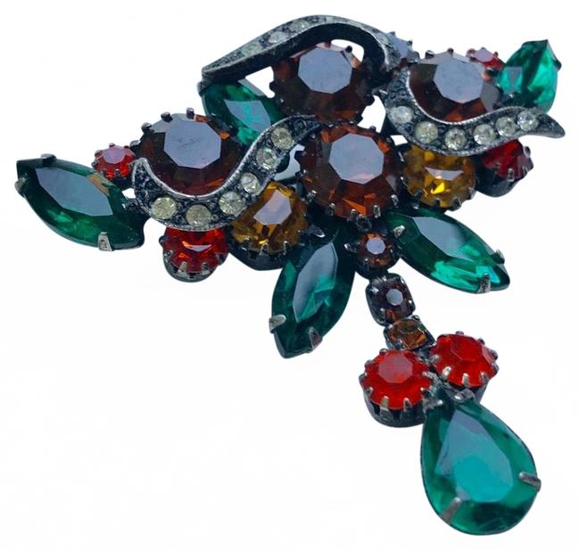 Item - Green Glass Rhinestone Brooch Pin