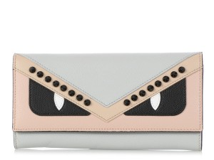 Fendi GRAY PINK & BLACK LEATHER MONSTER Continental WALLET