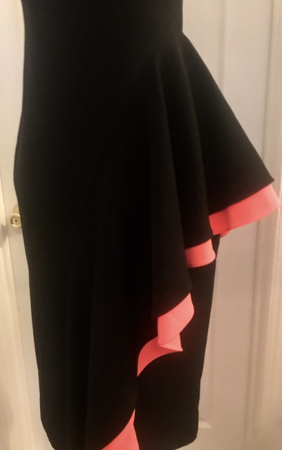MILLY Black Coral Italian Cady Cascade Layered Silk-stretch Short Cocktail Dress Size 0 (XS) MILLY Black Coral Italian Cady Cascade Layered Silk-stretch Short Cocktail Dress Size 0 (XS) Image 3