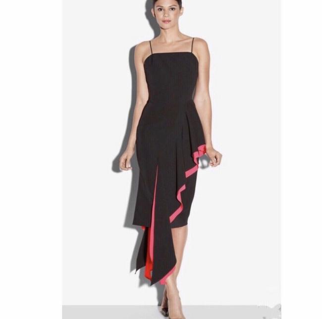 MILLY Black Coral Italian Cady Cascade Layered Silk-stretch Short Cocktail Dress Size 0 (XS) MILLY Black Coral Italian Cady Cascade Layered Silk-stretch Short Cocktail Dress Size 0 (XS) Image 6