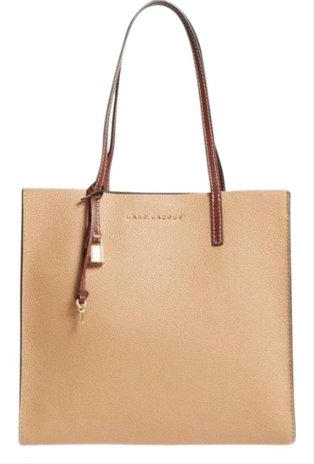 Item - The Grind Color Block Brown/Cream/Beige Leather Tote