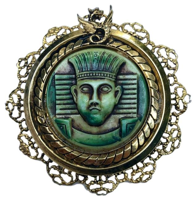 Item - Green Egyptian Revival Brooch Pin Pendant