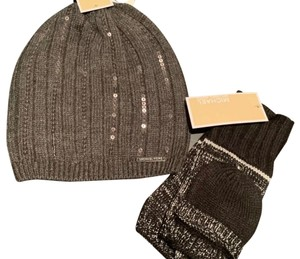 Michael Kors New Michael Kors Graphite Sequin Beanie Hat And Foldover Gloves Set