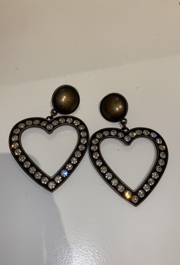 Alessandra Rich Brass With Crystal Heart Earrings Image 1