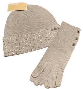 Michael Kors New Michael Kors Studded Gray Beanie Hat And Gloves Set