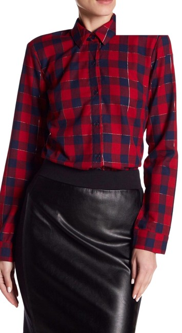 Item - Red Nwot Buffalo Plaid Blouse Button-down Top Size 2 (XS)