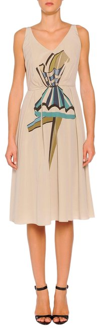 Item - Beige Silk Pleated Ballerina Print Mid-length Work/Office Dress Size 12 (L)