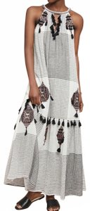White Maxi Dress by Anthropologie Maeve Embroidered Tassels