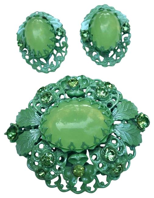 Item - Green Enamel Rhinestone Brooch Pin & Earing Set