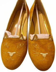 Charlotte Olympia Yellow Suede Flats