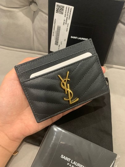 Saint Laurent quilted leather card holder ghw Image 2